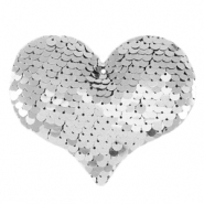 Charm with 1 eye sequin heart Silver