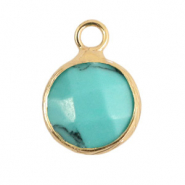 Natural stone charms 10mm Turquoise-Gold