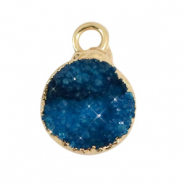 Natural stone charms crystal quartz 10mm Galaxy Blue-Gold