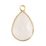 Natural stone charms drop White Crystal-Gold