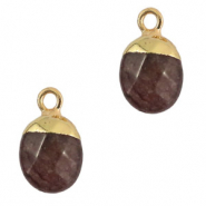 Natural stone charms Dark Brown Grey-Gold