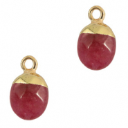 Natural stone charms Dark Fruit Dove Pink-Gold
