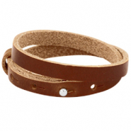 8mm Double leather Cuoio bracelets for 12 mm cabochon Dark cognac brown