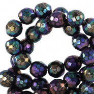 4 mm natural stone faceted beads round Black-AB Coating