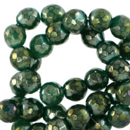 4 mm natural stone faceted beads round Olivine Green-AB Coating