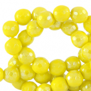 4 mm natural stone faceted beads round Ceylon Yellow-AB Coating