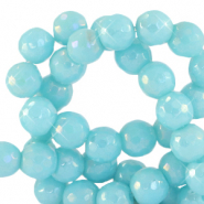 6 mm natural stone faceted beads round Light Turquoise Blue-AB Coating
