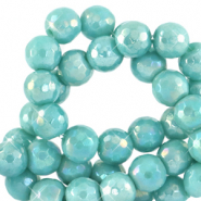 8 mm natural stone faceted beads round Canton Blue-AB Coating