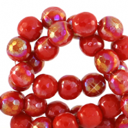 8 mm natural stone faceted beads round Raspberry Rose-AB Coating