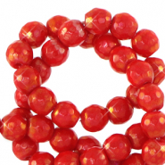 6 mm natural stone faceted beads round Raspberry Rose-AB Coating