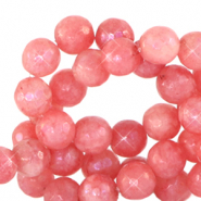 4 mm natural stone faceted beads round Living Coral Red-Opal AB Coating