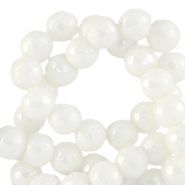 6 mm natural stone faceted beads round White-AB Coating