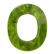 Resin pendants oval 48x40mm Guacamole Green