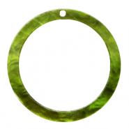 Resin pendants round 35mm Guacamole Green