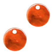 Resin pendants round 12mm Tangerine Tango Orange