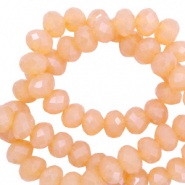 Top faceted beads 4x3mm disc Apricot-Pearl Shine Coating