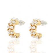 Trendy earrings pearl creole 15mm Gold-Off White