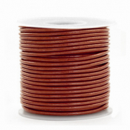 Benefit package DQ leather round 1 mm Dark Russet Brown Metallic