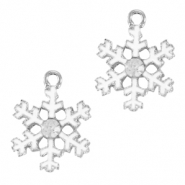 Metal charms snowflake Silver-White