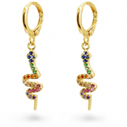 Zirconia rainbow creole earrings with snake Gold