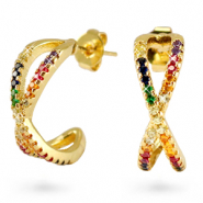 Zirconia rainbow creole earrings cross Gold
