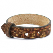Cuoio bracelet leather croco 15 mm for 20 mm cabochon Colonial Brown-Gold