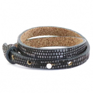 Cuoio bracelet leather croco 8 mm double for 12 mm cabochon Anthracite-Silver