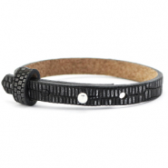 Cuoio bracelet leather croco 8 mm for 12 mm cabochon Black-Silver