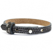Cuoio bracelet leather croco 8 mm for 12 mm cabochon Anthracite-Silver