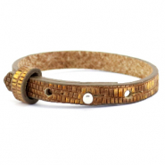 Cuoio bracelet leather croco 8 mm for 12 mm cabochon Tobacco Brown-Gold