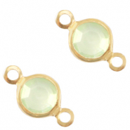 DQ European metal charms connector crystal glass round 6mm Gold-Meadow Green Opal