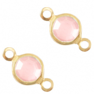 DQ European metal charms connector crystal glass round 4mm Gold-Rose Pink Crystal