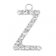 Metal rhinestone charms initial Z Antique Silver
