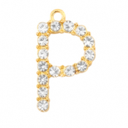 Metal rhinestone charms initial P Gold