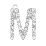 Metal rhinestone charms initial M Antique Silver