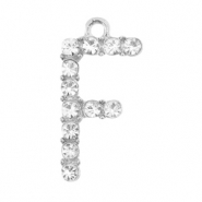 Metal rhinestone charms initial F Antique Silver