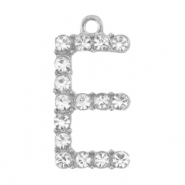 Metal rhinestone charms initial E Antique Silver
