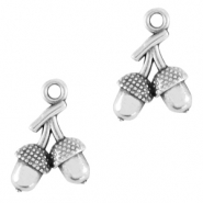 DQ European metal charms acorn Antique Silver (nickel free)