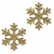 DQ European metal charms connector snowflake Antique Bronze (nickel free)