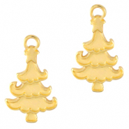 DQ European metal charms Christmas tree Gold (nickel free)