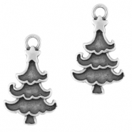 DQ European metal charms Christmas tree Antique Silver (nickel free)