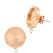 Polaris Steel earrings with setting for 12mm cabochon (with loop) Rose Gold
