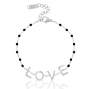 "Stainless steel bracelets ""love"" Silver-Black"