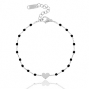 Stainless steel bracelets heart Silver-Black