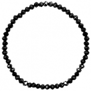 Top faceted bracelets 4x3mm Jet Black-Pearl Shine Coating