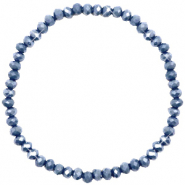 Top faceted bracelets 4x3mm Blue Stone-Pearl Shine Coating