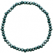 Top faceted bracelets 4x3mm Dark Eden Green-Pearl Shine Coating