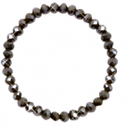 Top faceted bracelets 6x4mm Dark Olive Green-Pearl Shine Coating