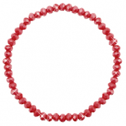 Top faceted bracelets 4x3mm Chillipeper Red-Pearl Shine Coating