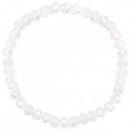 Top faceted bracelets 6x4mm White Opal-Pearl Shine Coating